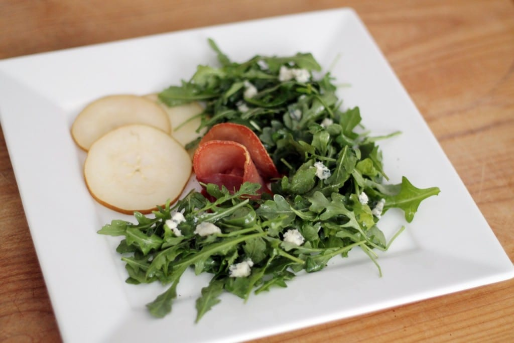 ... – Arugula with Pears + Prosciutto (course two) | Chris Loves Julia