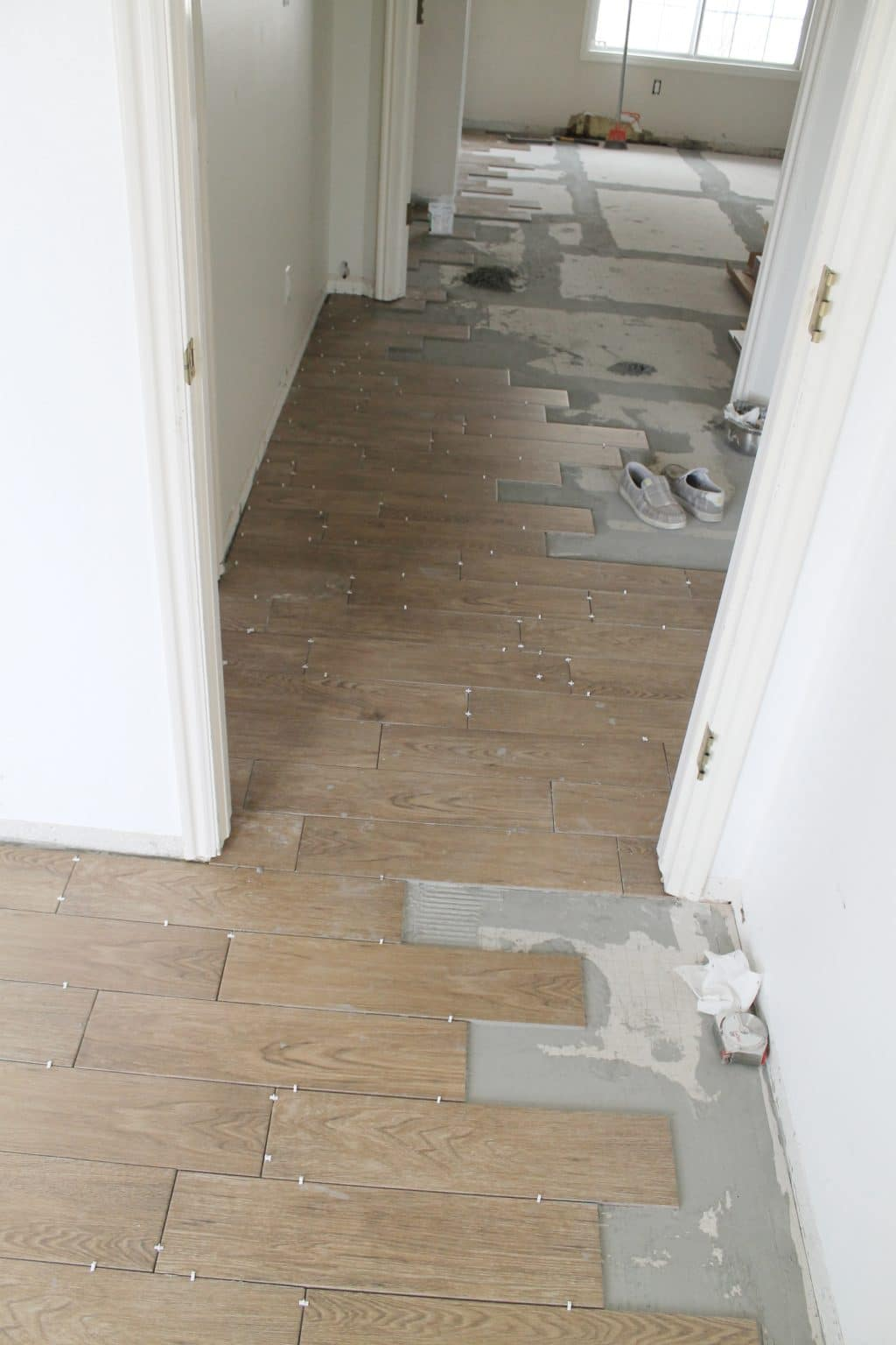 Tips for achieving realistic faux wood tile chris loves for Fake tile floor