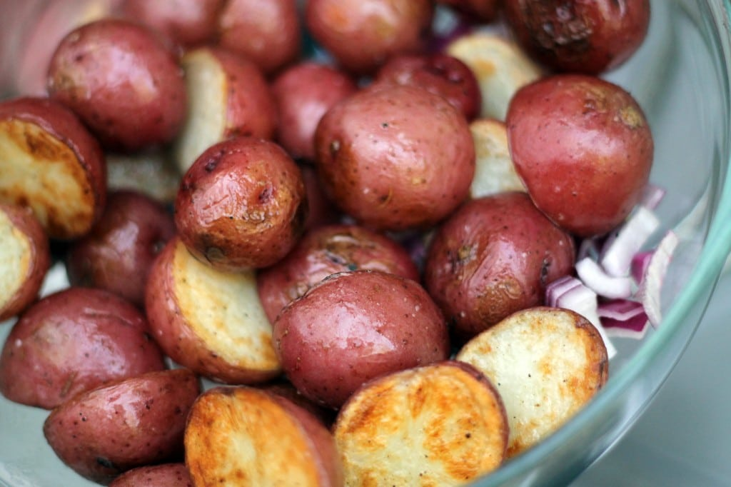Grilled potato salad with honey mustard and dill dressing