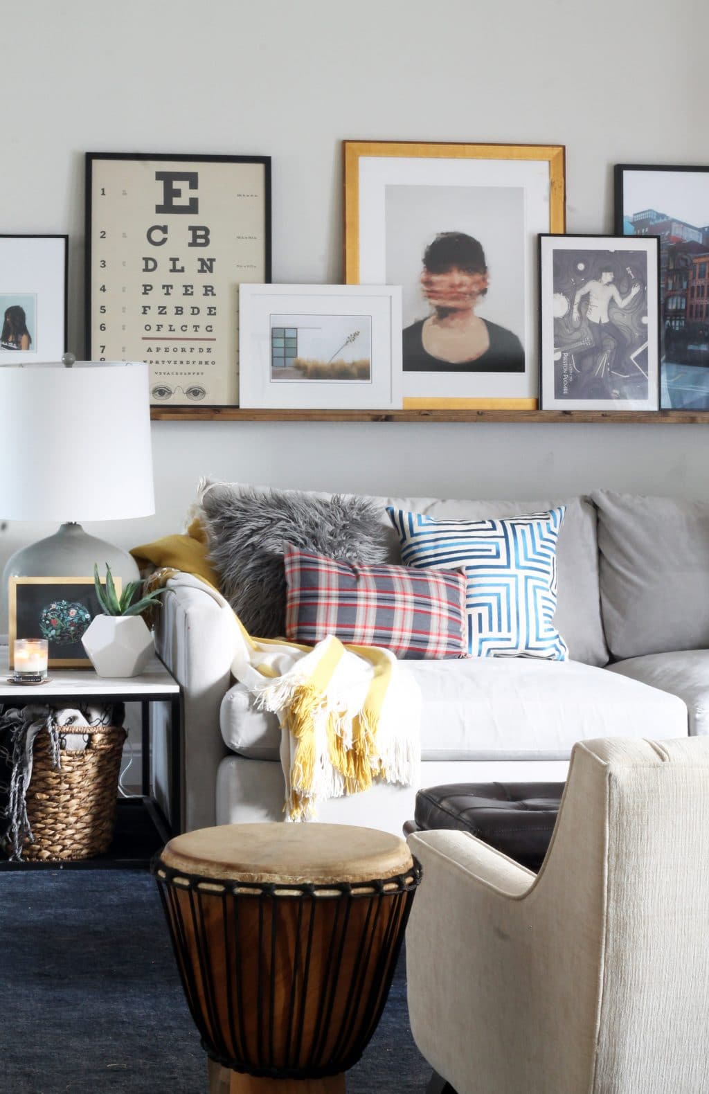 art pictures for living room. We had a couple photo ledges in our last house and we loved missed the  casual leaned art look ease of switching things around A Massive Wood Picture Ledge for Living Room Chris Loves Julia