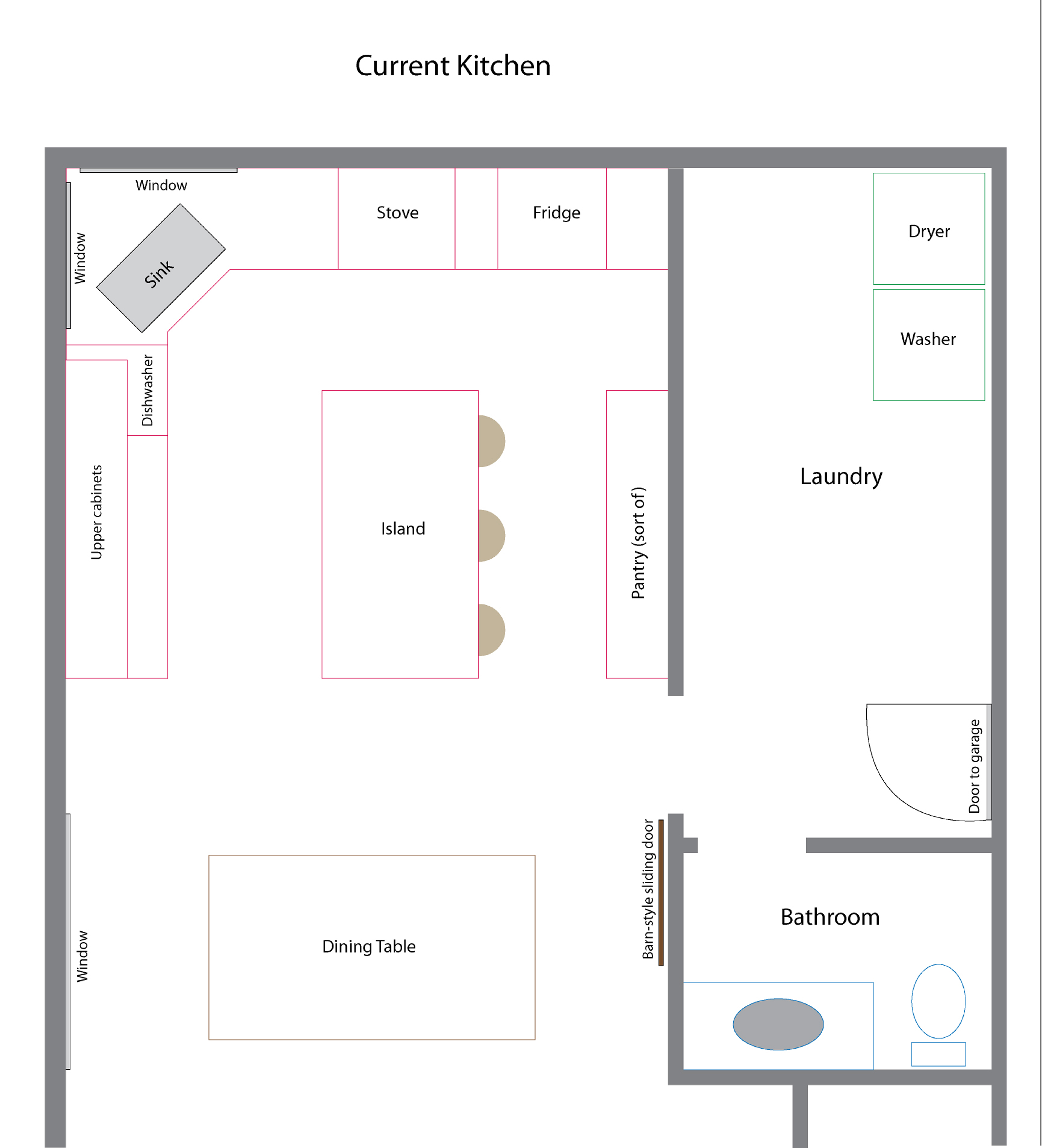 Kitchen Floor Plans With Island And Walk In Pantry