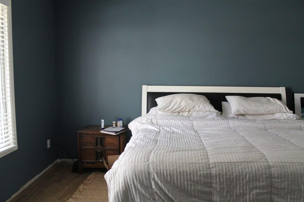 Grayish Blue Paint how to patch drywall like a girl, our freshly painted room + $100