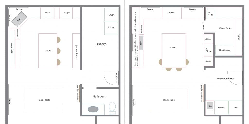 old and new floor plans