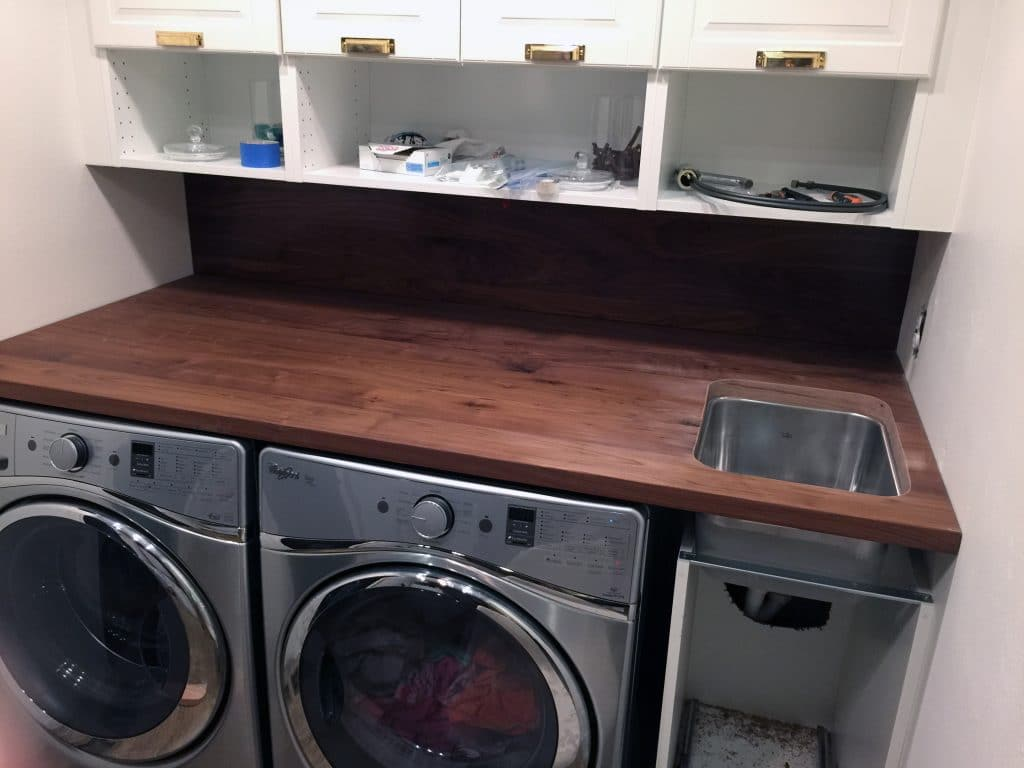 Utility Sink With Countertop : ... Walnut Counter And Backsplash in the Laundry Room - Chris Loves Julia