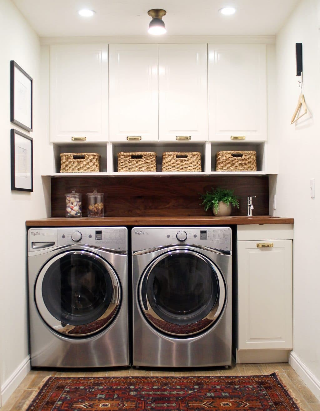 Before and after a bathroom turned laundry room chris for Small laundry design