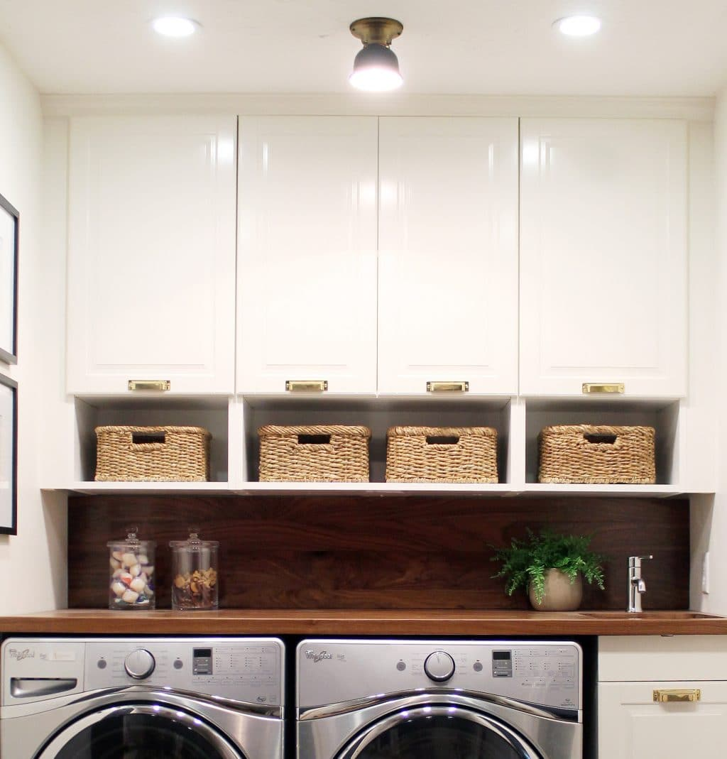 Before and after a bathroom turned laundry room chris for Open shelving laundry room