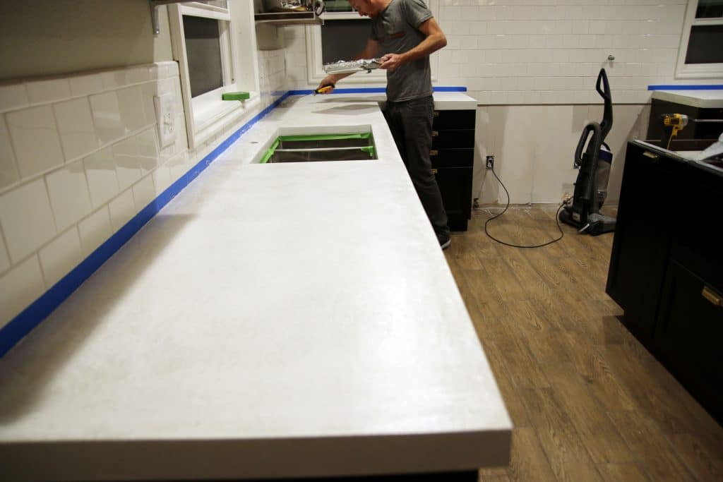 Sealing our White Concrete Countertops - Chris Loves Julia
