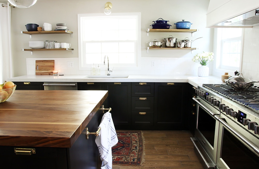 It 39 s done the full kitchen reveal chris loves julia for Black washed kitchen cabinets