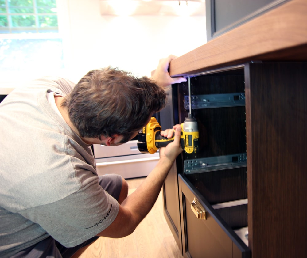 Ikea Stenstorp Kitchen Island Assembly ~   Ikea base cabinets actually come equipped with support brackets for