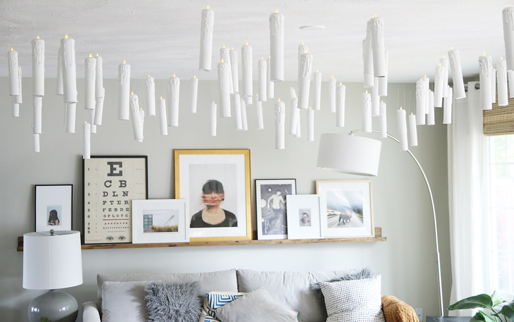 Diy harry potter esque hanging candles party decor for Room decor hanging