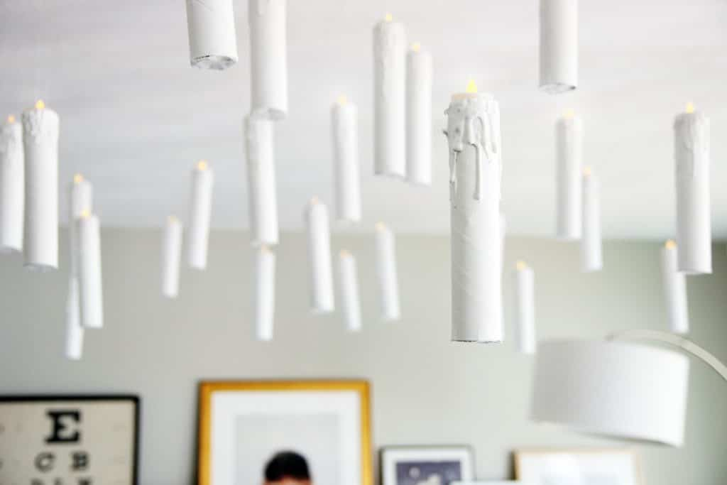 Diy harry potter esque hanging candles party decor for Hanging candles diy