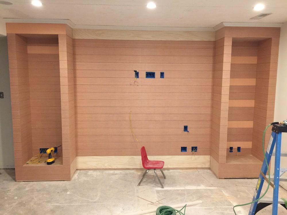 A DIY Shiplapped Built-In Entertainment Center | Chris Loves Julia