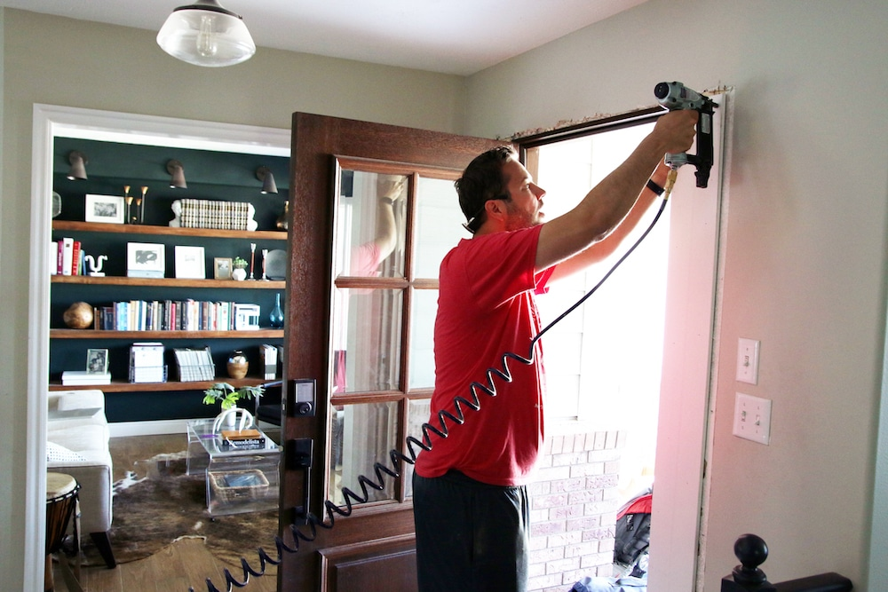Adding Trim Around the Inside of Our Front Door (Finally) | Chris Loves Julia
