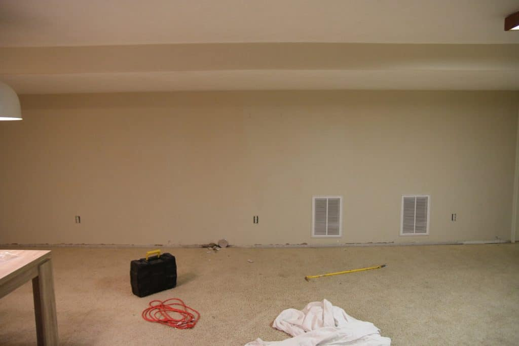 before and after our basement family room is finished chris loves julia. Black Bedroom Furniture Sets. Home Design Ideas