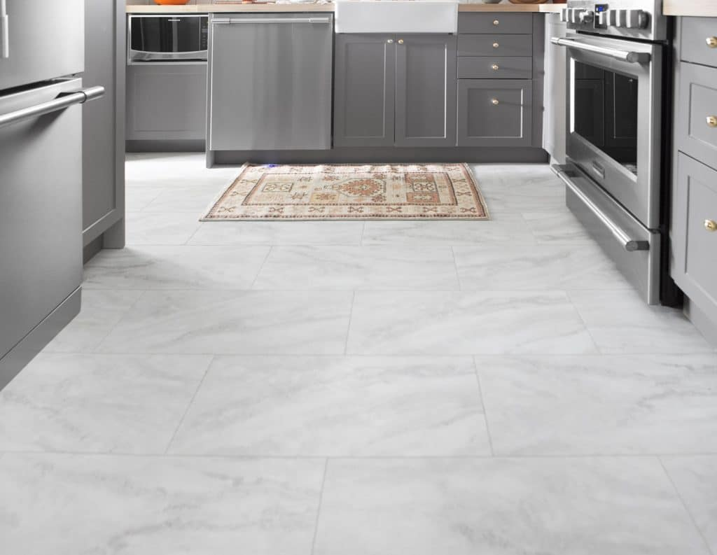 How to lay luxury vinyl tile flooring lvt a feature in for White kitchen vinyl floor