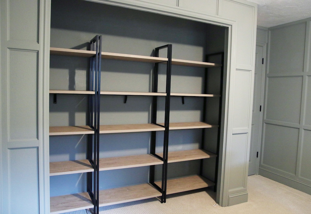 how to make a bookshelf in a closet