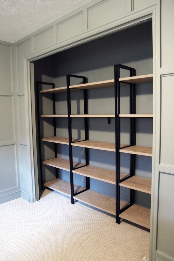 Turning a Bedroom Closet Into Office Storage