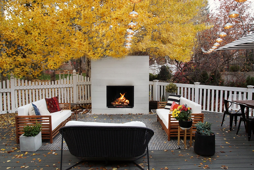 Back deck with fireplace