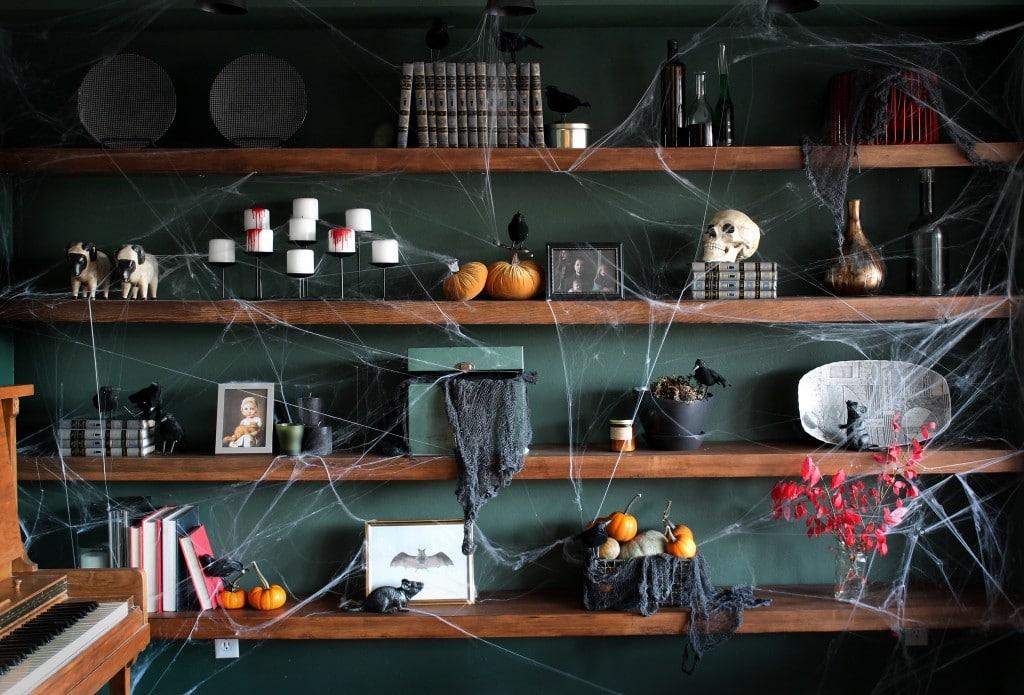 Shelves decorated for Halloween | Chris Loves Julia