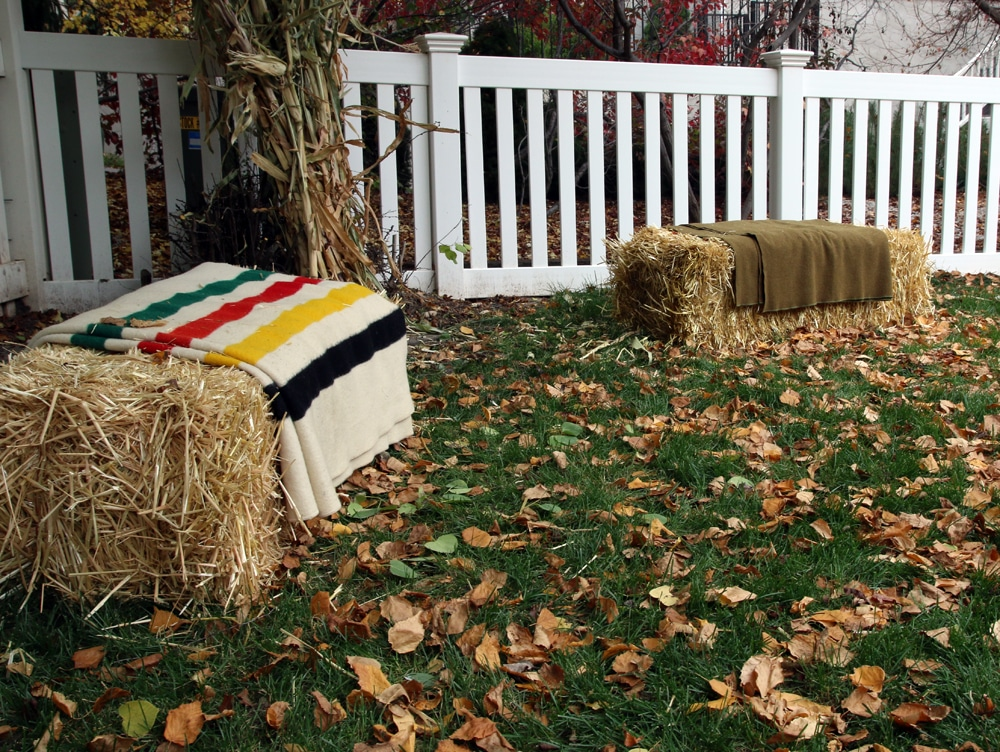 Hay Bales as extra seating | Chris Loves Julia