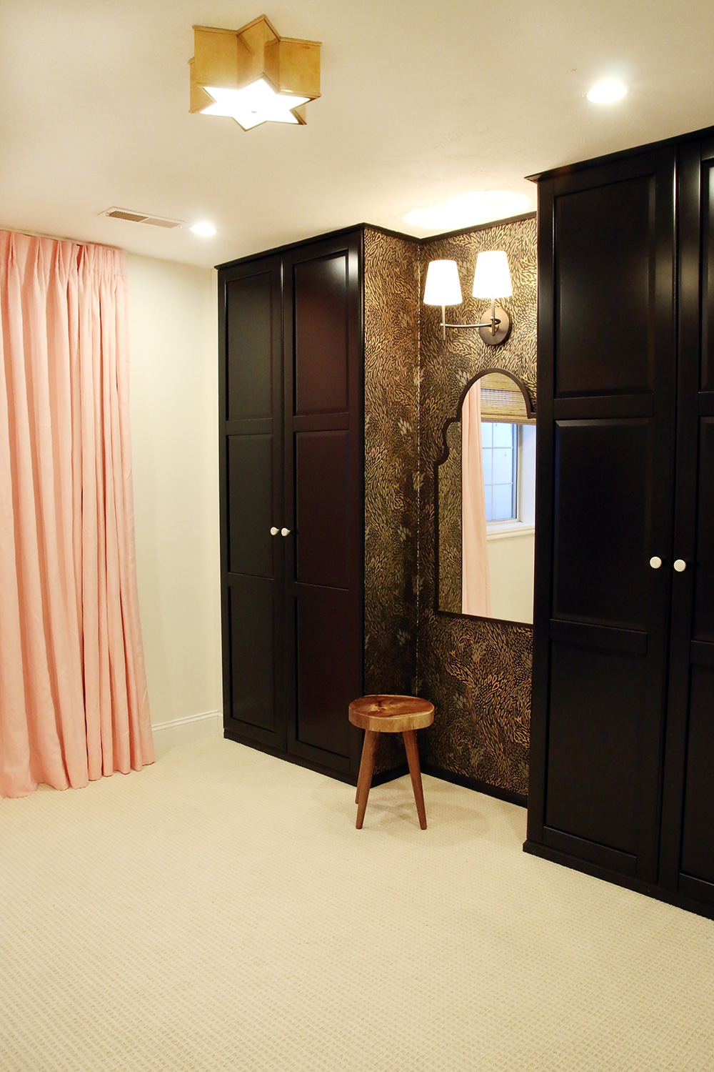 Floor to Ceiling Pink Curtains with a ceiling mount rod