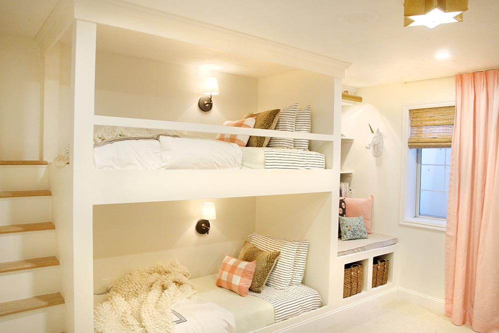 I love these built in bunks with stairs!