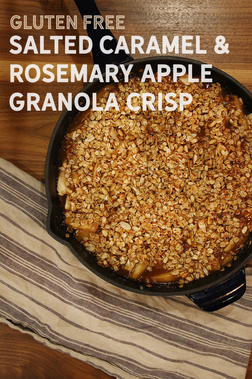 Ingredients • 1/4 cup sliced almonds • 1/4 cup pine nuts • 2 cups rolled oats (gluten free if that's what you're going for) • 1 tsp chopped fresh rosemary • 2 tsp olive oil • 1/4 cup honey • 5 Pink Lady apples (or another tart eating apple) • 5 Granny Smith apples • 2 lemons, juiced • salt • 1 stick salted butter • 2 sprigs rosemary • 2 cups brown sugar • 1/4 cup dark corn syrup • 1 cup heavy cream • 1.5 Tbsp cornstarch • 1/2 cup Mascarpone cheese • 1 tsp bee pollen (optional)