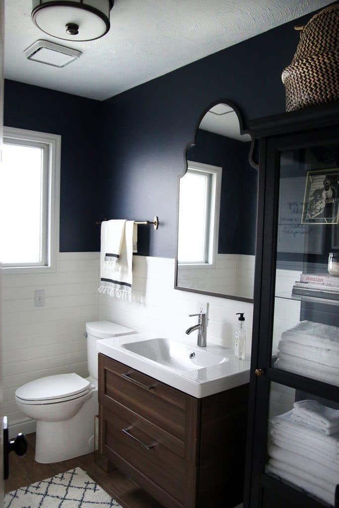 Ikea Vanity and Linen cabinet in Chris Loves Julia's bathroom