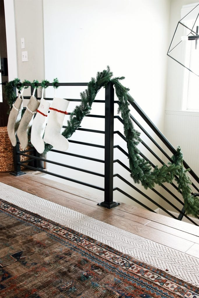 Stockings on a stair railing!