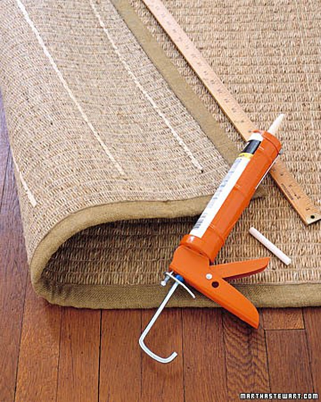 If You Re Wanting A More Diy Route Martha Made Adding Strips Of Caulking On The Back An Area Rug Thing In 2002