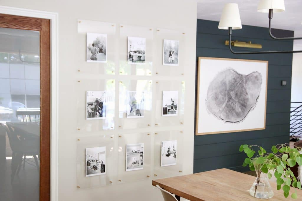 Acrylic Wall Frames a modern, kid-friendly, family gallery wall in the dining room