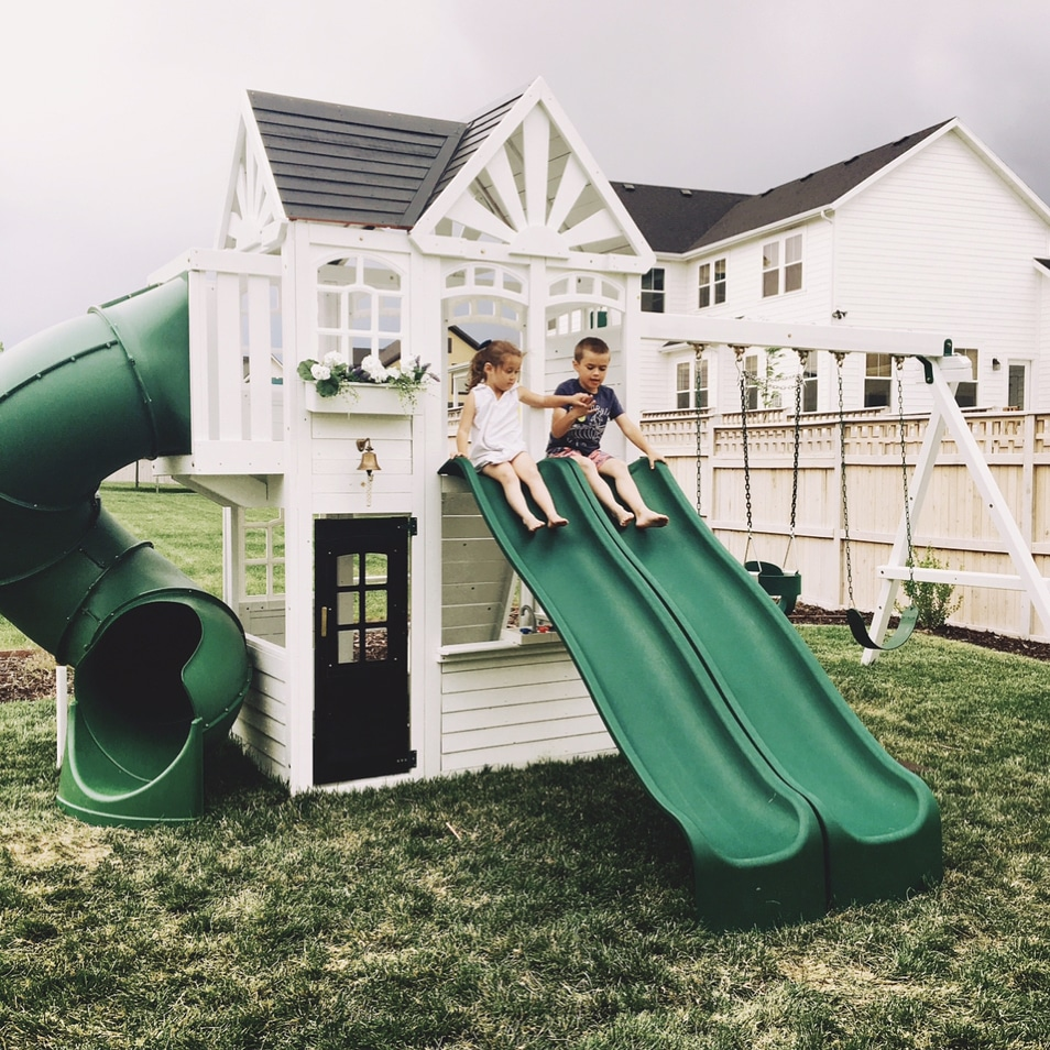 5 amazing playhouse playset makeovers chris loves julia for Mini swing set