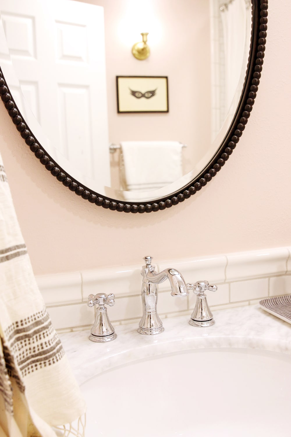 And cabinet pulls with antique brass sconces and a chrome faucet - A Towel Ring And Towel Were Added To Each Side Of The Vanity Along With A Tray And Some Functional But Also Pretty Necessities Finished Off This Corner