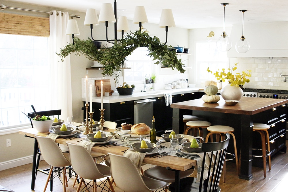 I Love The Wood Tones, Mixed With Grays, Creams, Golds, Blue And Off Whites  With The Striking Black Flatware (all From Arhaus!) Framing Each Plate.