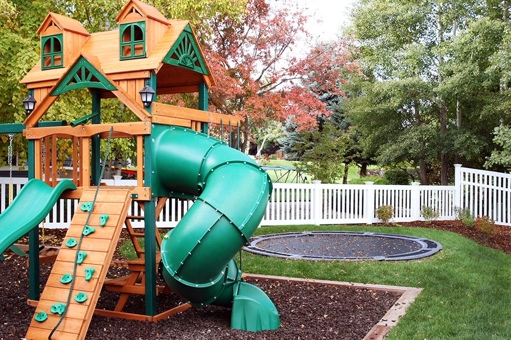 Although we definitely wanted this part of the yard to be kid-central,  since our backyard (the deck) is more for entertaining, we also OF COURSE  wanted it ... - Our Backyard Playground Part II: The Reveal And Budget Breakdown