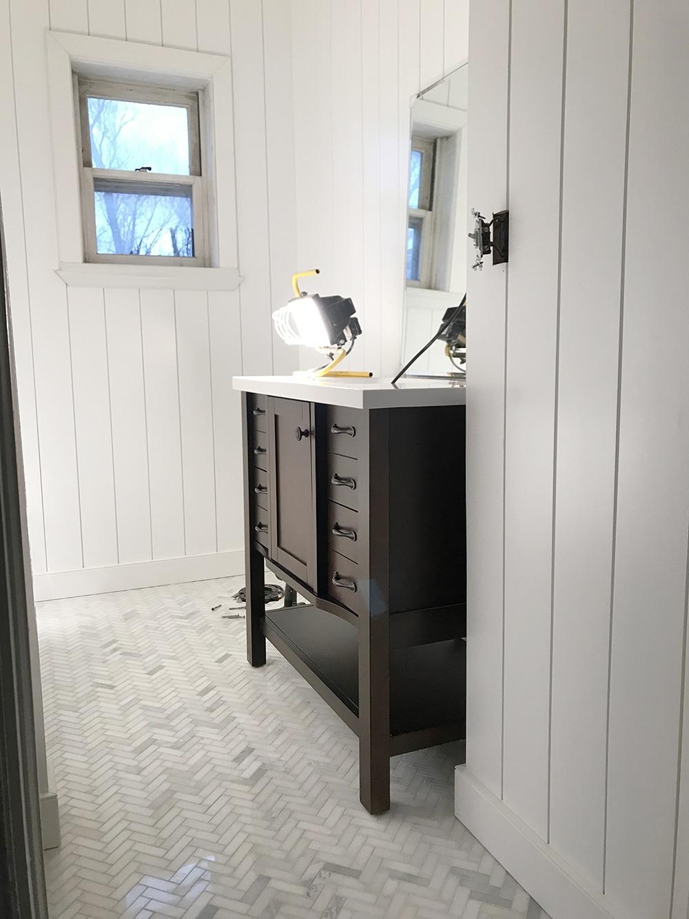 Installing Pre Painted Vertical Shiplap In The Bathroom