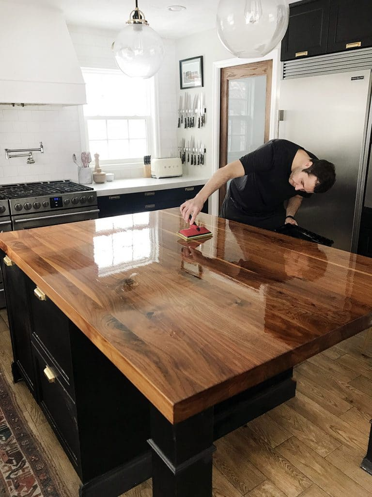 Refinishing Butcher Block Kitchen Table : How We Refinished our Butcher block Countertop - Chris Loves Julia
