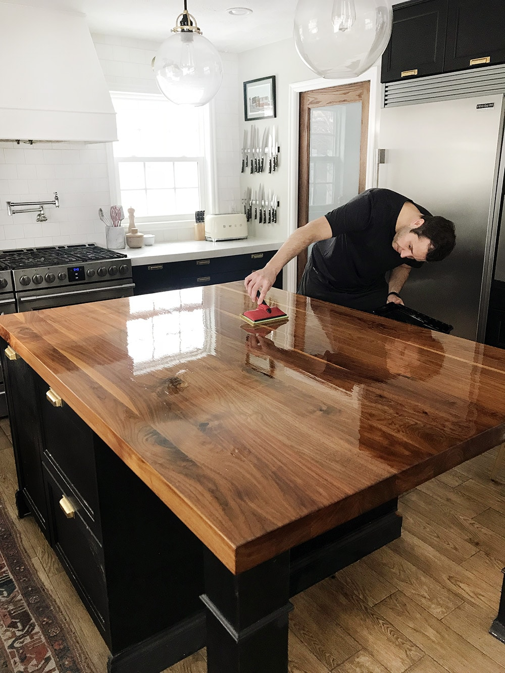 Were left with what looks like a brand walnut countertop in my opinion wood