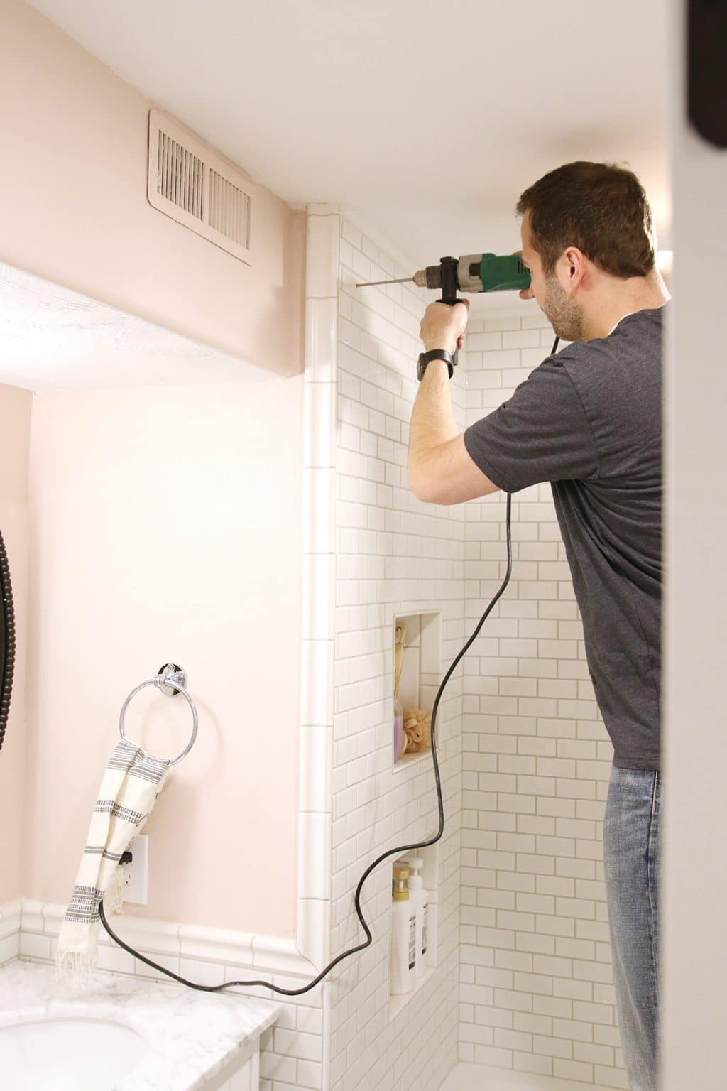 How To Drill Into Tile To Hang A Shower Curtain Chris Loves Julia