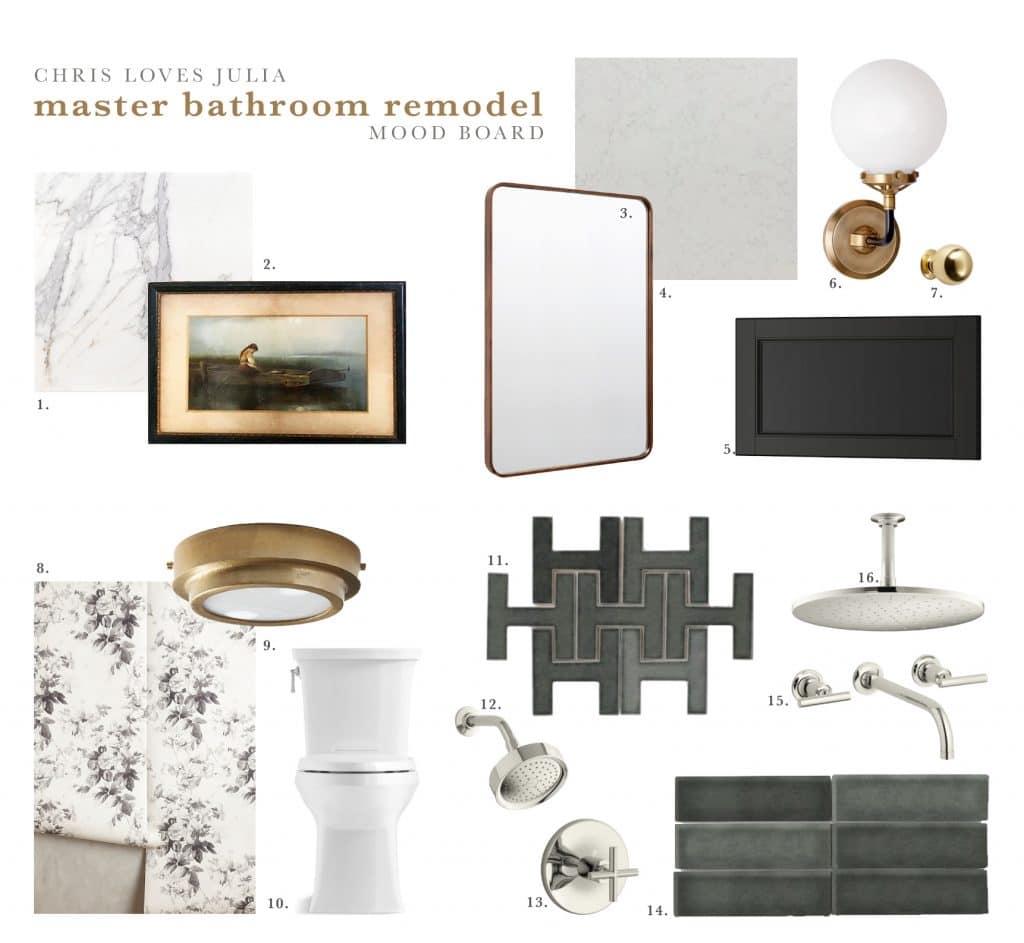 The master bathroom mood board chris loves julia for Bathroom design board