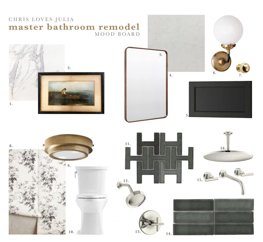 The master bathroom mood board chris loves julia for Master bathroom 2018