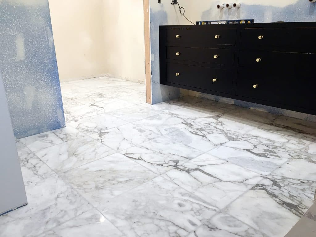 Adding Marble Flooring to the Master Bathroom - Chris Loves Julia
