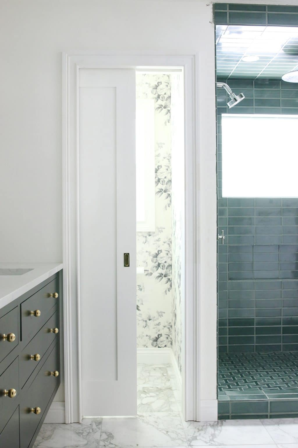For The Pocket Door Leading Into The Bathroom, The Wall Is Thicker On The  Bathroom Side Than It Is On The Bedroom Side. This Was Done To Both Allow  Room For ...