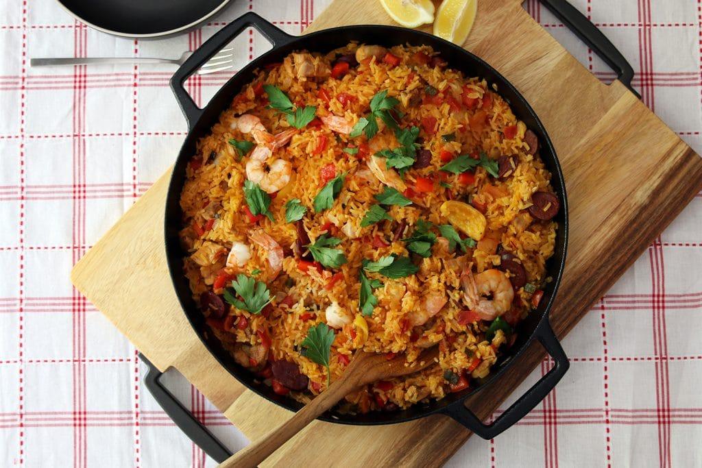 One pan paella with chicken, shrimp & Spanish chorizo