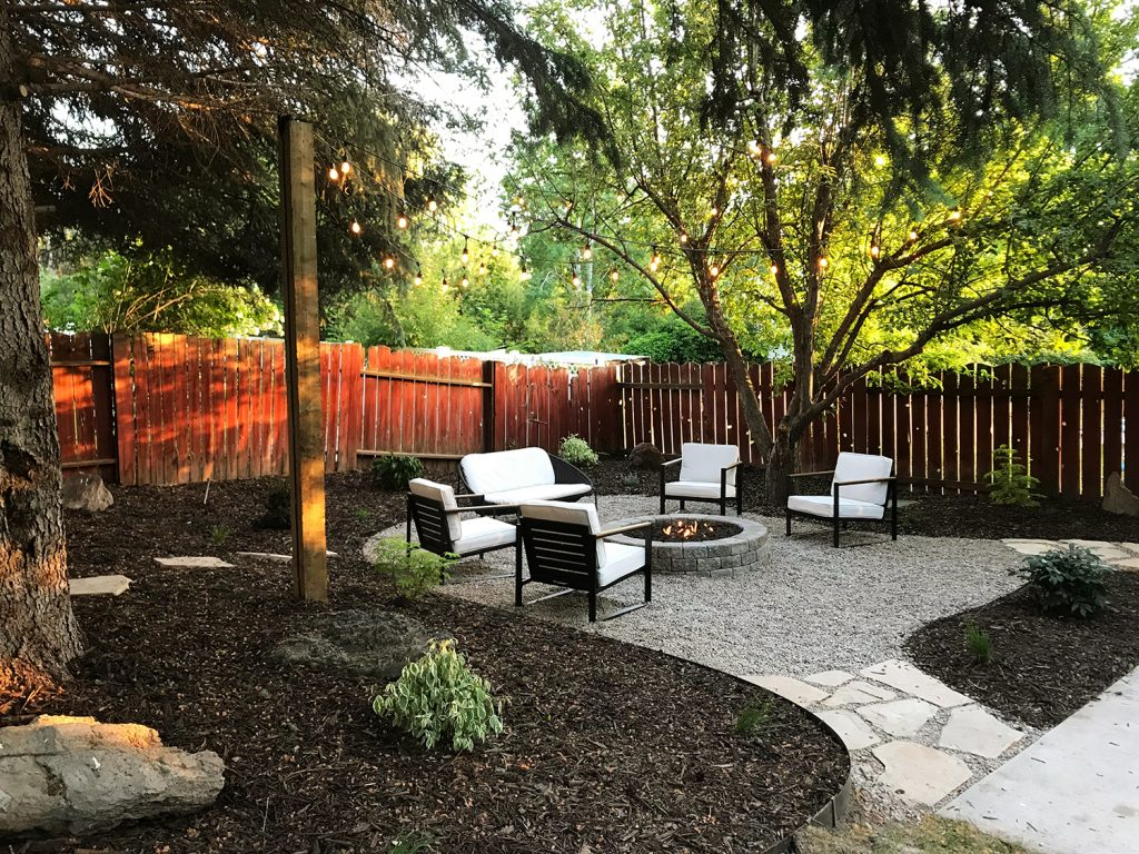 Outdoor space with fire pit and furniture