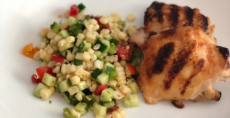 Salt & vinegar chicken with a grilled corn salad.