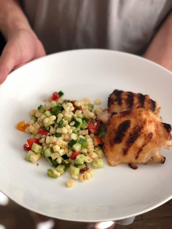 Salt & Vinegar Chicken with Grilled Corn Salad