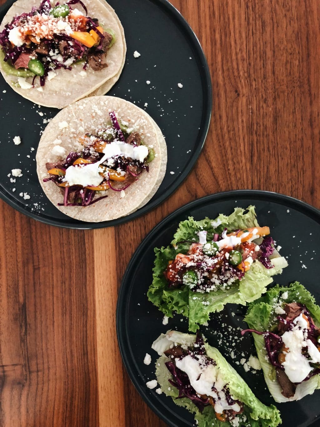 Tacos with grilled steak and purple cabbage slaw