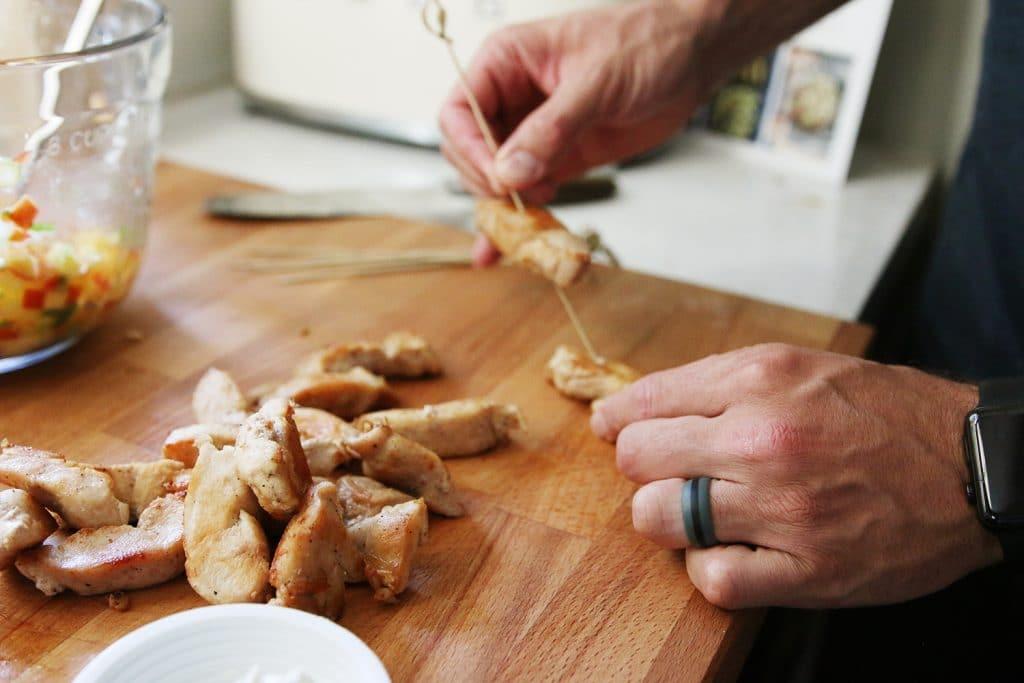Skewering chicken