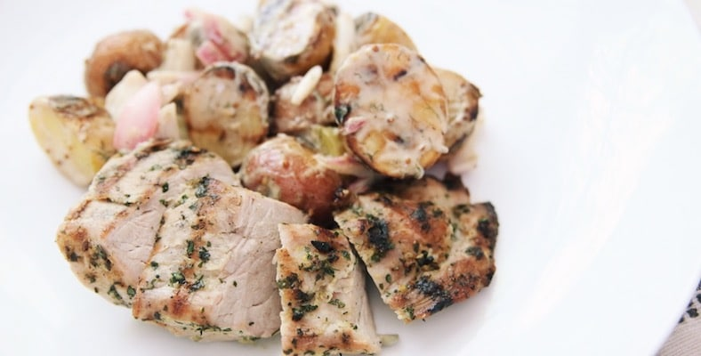 Grilled pork tenderloin with a grilled potato salad